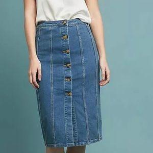 Anthropologie Button Front Denim Midi Skirt